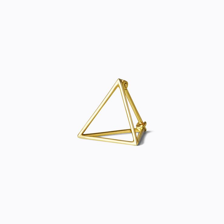 3D Triangle 15, yellow and white gold, matte finish