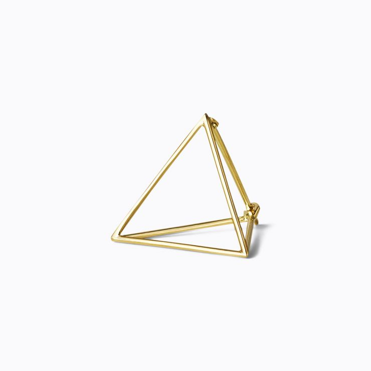 3D Triangle 20, yellow and white gold, matte finish