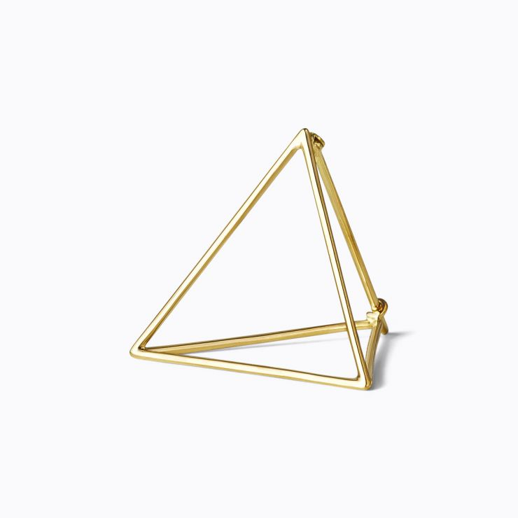 3D Triangle 25, yellow and white gold, matte finish