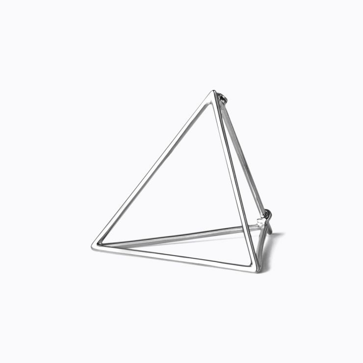 3D Triangle 25, white gold, matte finish
