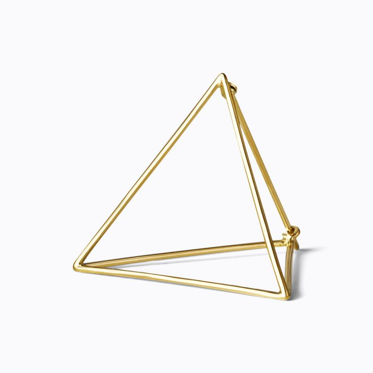 3D Triangle 30, yellow and white gold, matte finish