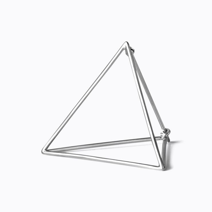 3D Triangle 30, white gold, matte finish