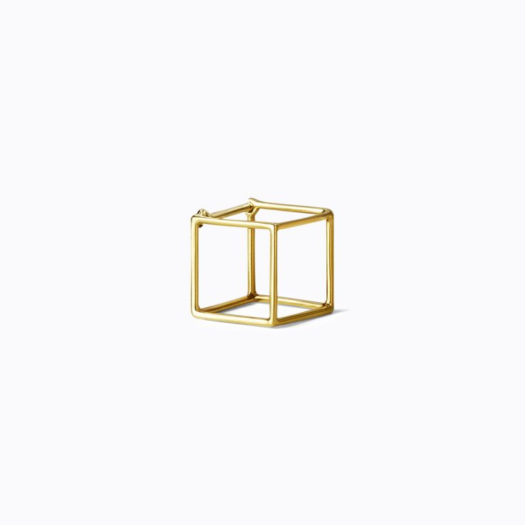 3D Square 10, yellow and white gold