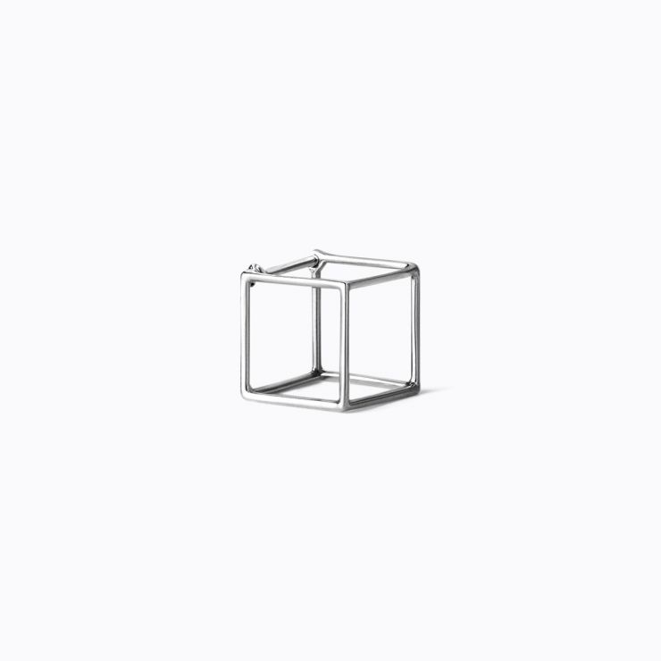 3D Square 10, white gold
