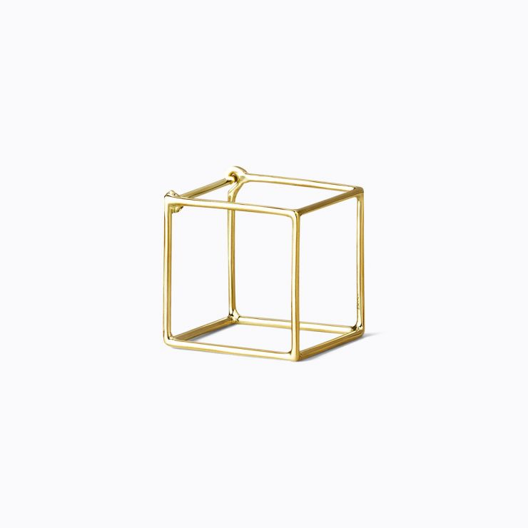 3D Square 15, yellow and white gold