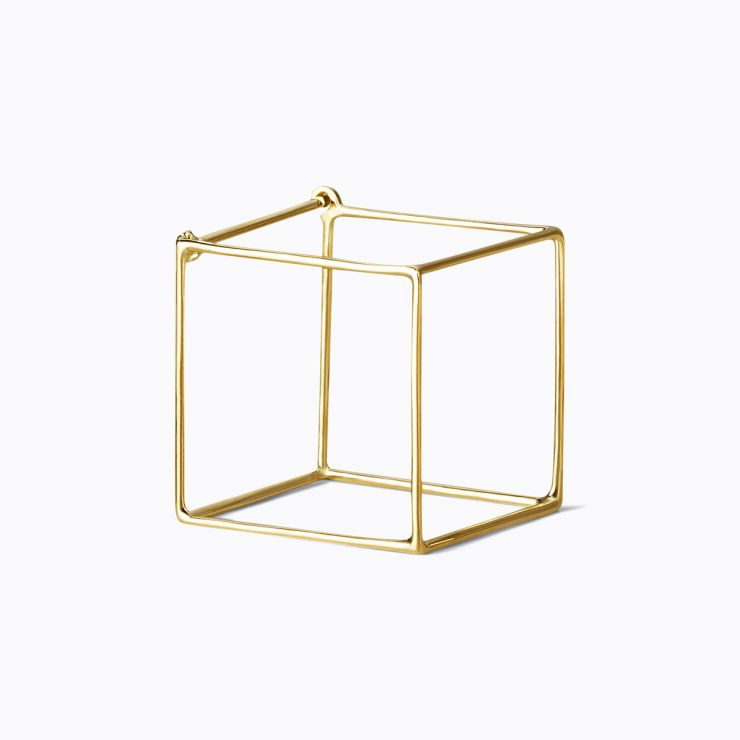 3D Square 20, yellow and white gold