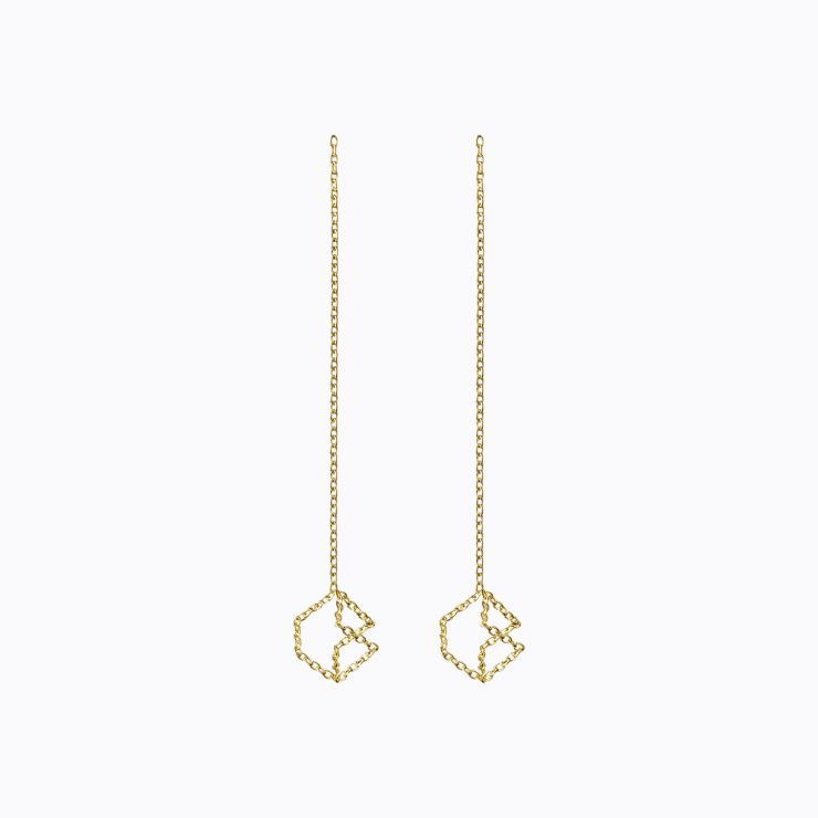 Chain Earring 04s, yellow gold