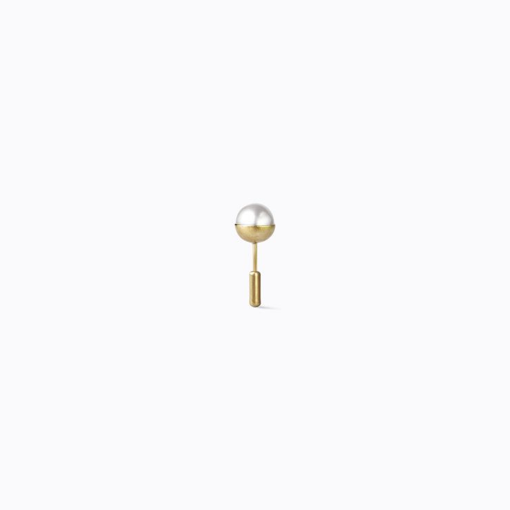 Half Pearl Earring 0°, yellow gold