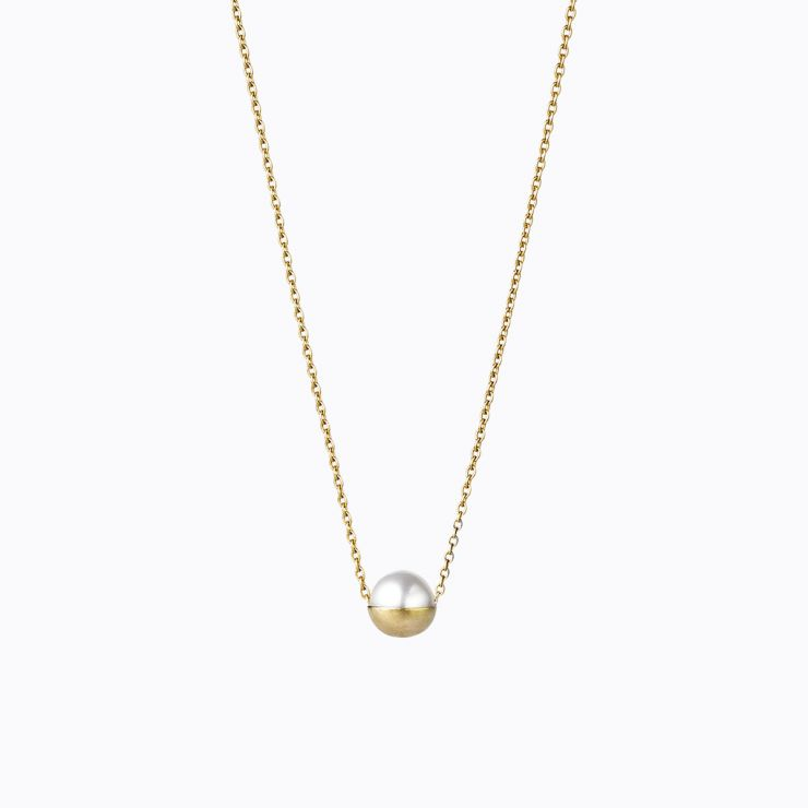 Half Pearl Necklace 0°, yellow gold