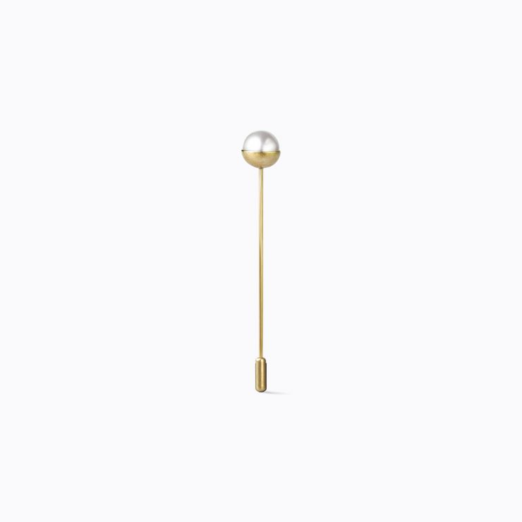 Half Pearl Pin 0°, yellow gold