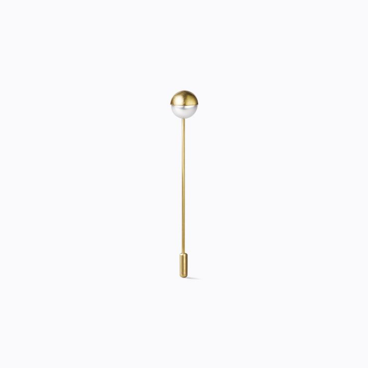 Half Pearl Pin 90°, yellow gold