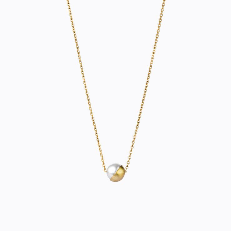 Half Pearl Necklace 45°, yellow gold