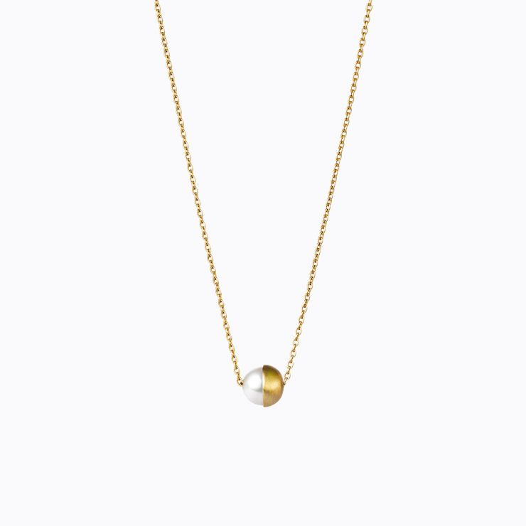 Half Pearl Necklace 90°, yellow gold