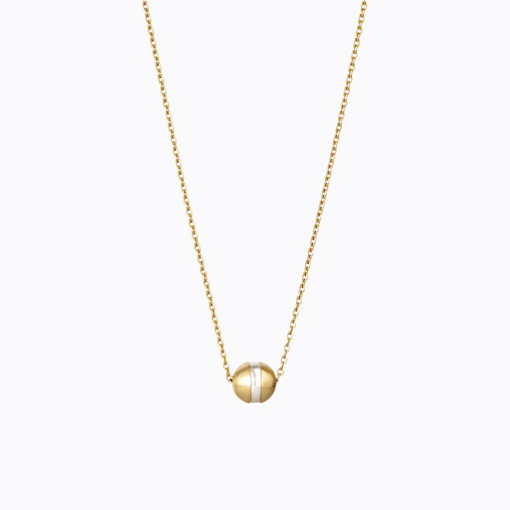 Center Pearl Necklace 90°, yellow gold