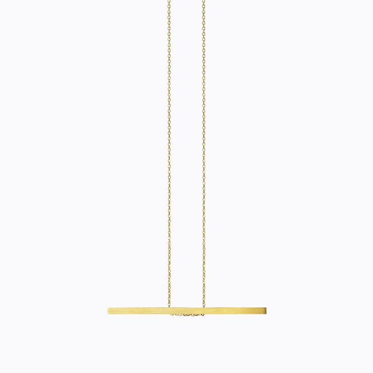 Bar Necklace 03, yellow gold, matte finish