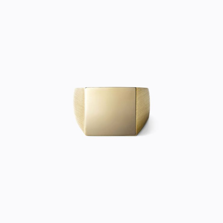 Square Ring S, yellow gold, matte finish