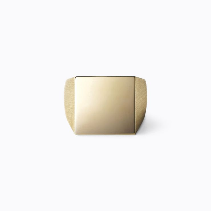 Square Ring L, yellow gold, matte finish