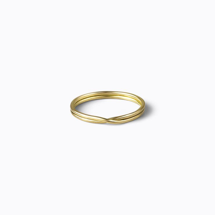 Double Ring 0.9, yellow gold, polished finish