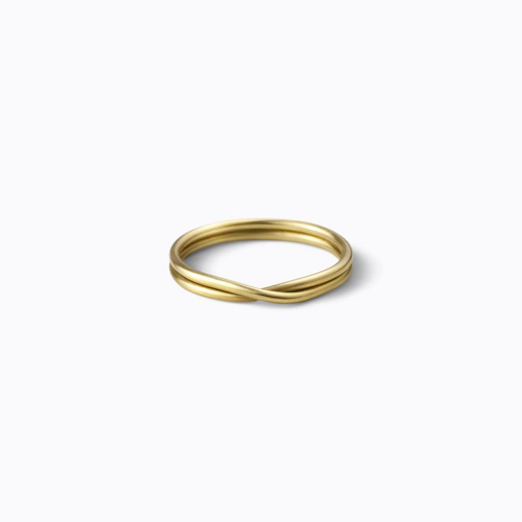 Double Ring 1.3, yellow gold, matte finish