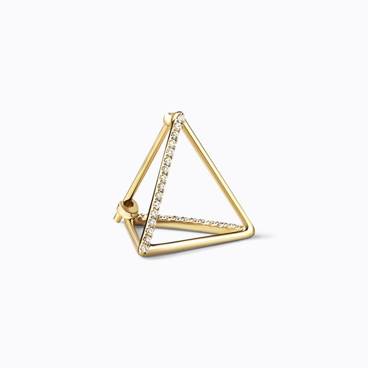 3D Triangle 10, yellow and white gold, matte finish