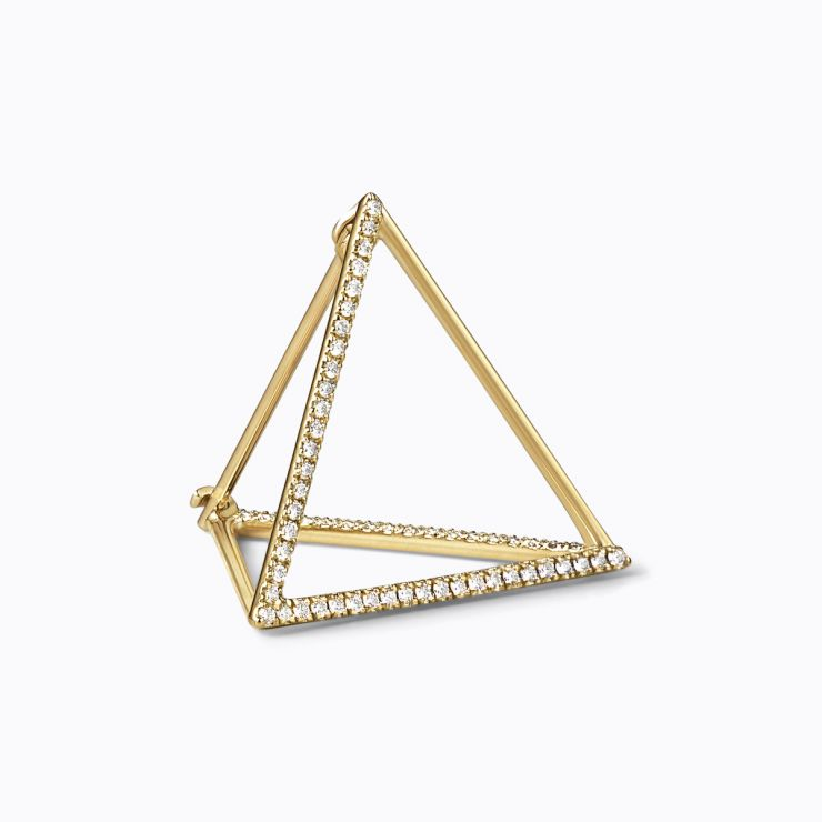 3D Diamond Triangle 20 (03), yellow gold