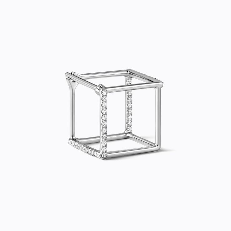 3D Diamond Square 10 (02), white gold