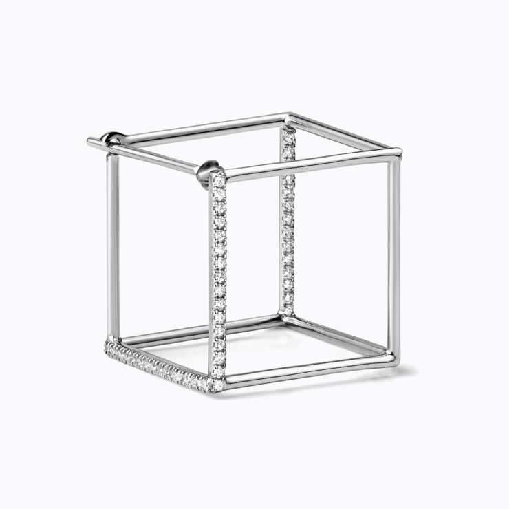 3D Diamond Square 15 (02), white gold