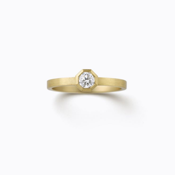 Octagon Ring 01 (VS), yellow gold and diamond