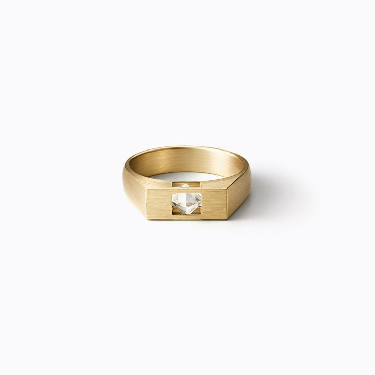 Rectangle Ring L, yellow gold, matte finish